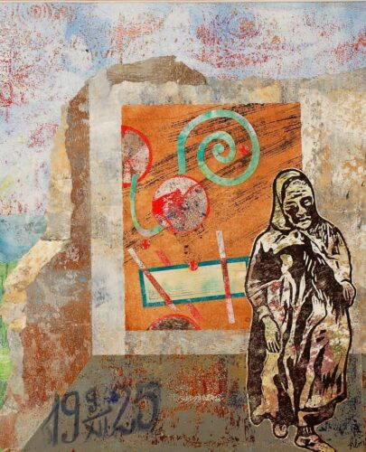 Portrait of old woman on gel-plate print collage