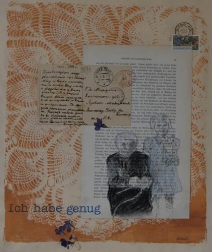 conte crayon portrait of grandmother and granddaughter, collage with found items and gel-plate print