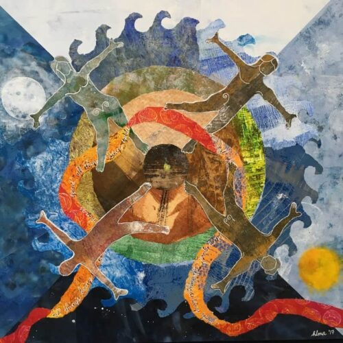 mandala of earth, water and heavens with dancing people of different genders