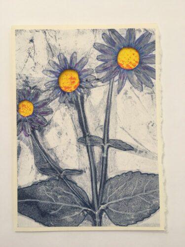 Blue petaled daisies