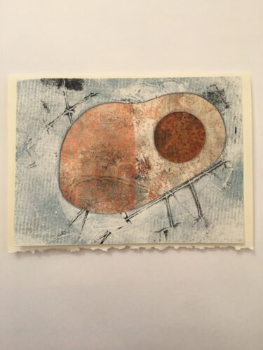 Abstract oval shape with brown circle against payne's grey backround 5 x 7 card