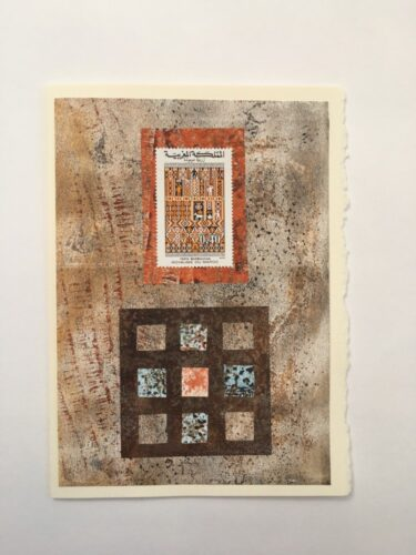 Morrocan stamp in brown and grey mono-print 5 x7 card