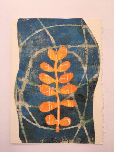 orange leaves against blue background 5 x 7 card