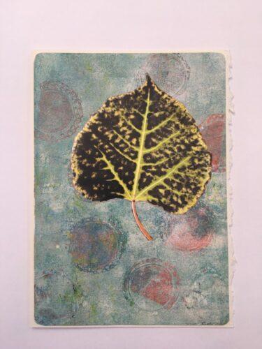black and yellow poplar leaf 5 x 7 card