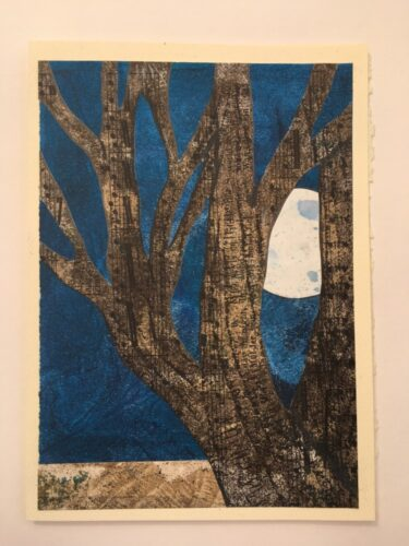 moon peeking through tree branches 5 x 7 card