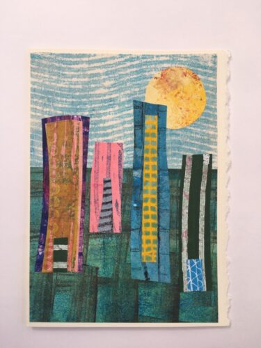 stylized cityscape in bright colours 5 x 7 card