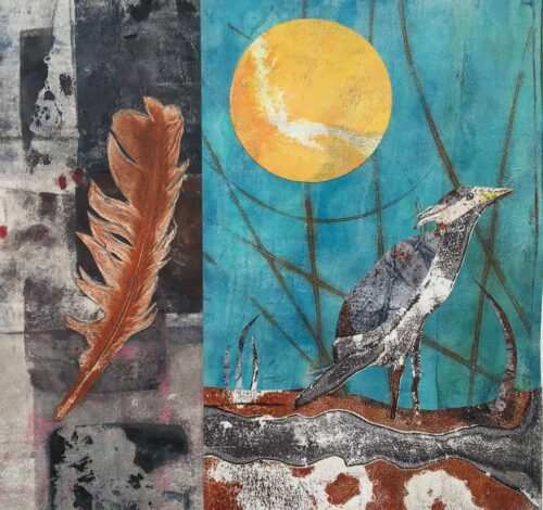 Printed paper collage of a feather, and marsh, bird and sun