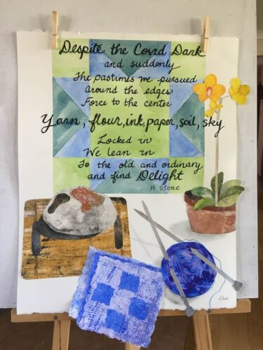 Collage showing knitting, an orchid and a loaf of bread, with a poem about rediscovering old pasttimes.of the pandemic in the background.